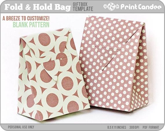 Wedding Gift Bag Template : Items similar to Gift Box Blank TemplateFold Hold BagPersonal ...