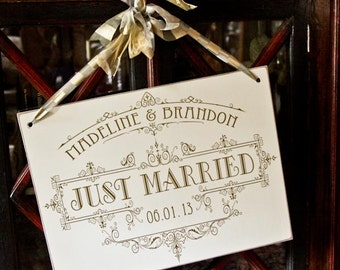 Custom Personalized Just Married Wedding Sign to hang on your exit vehicle or to display at your reception - 18x24