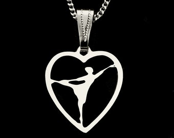 BALLERINA in HEART, silver plated  pendant with chain, designed by artist.