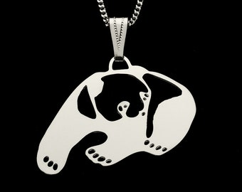 Prowling Panda Pendant, silver plated with neck chain