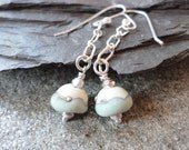 Sterling Silver Artisan Beach Sand Glass Earrings Dangle Hand Forged Neutral Aqua Cream Ivory Matte Turquoise Summer Swing Chain