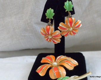 Vintag Orange Enamel Flower Brooch Earrings