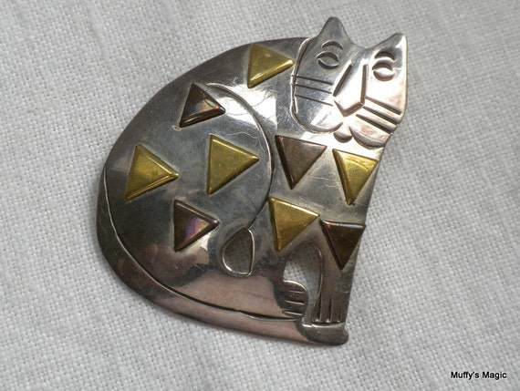 Sterling Silver Cat Pendant Brooch with Brass Accents