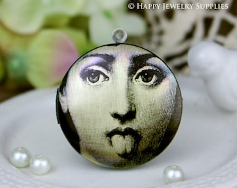 New Technology - 1pcs 33mm (PL-33-242) Handmade Antique Bronze Brass Photo Locket Pendant / Charm
