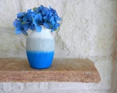 Gray, white, and blue Vase / olympian blue / glass and concrete art / made to order