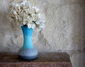 Turquoise and Gray ombre Vase / sea style home decor / handcrafted vase / blue flower vase /fluted vase