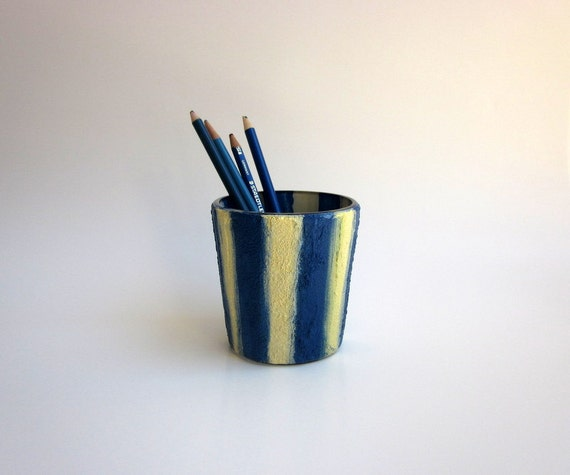 Pencil holder / Blue and Cream Pen cup /  Desk Art / Glass Stucco Concrete Cup