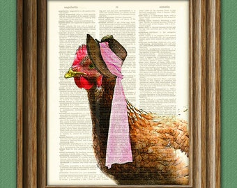 The Hen's first date Chicken with bonnet Art Print with bow tie and fancy cane beautifully upcycled vintage dictionary page book art print