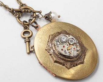 Steampunk Locket, Vintage Gold Locket Necklace, Silver Watch Movement with Skeleton Key Charm, Filigree, Pearl & Crystal by Steampunk Nation