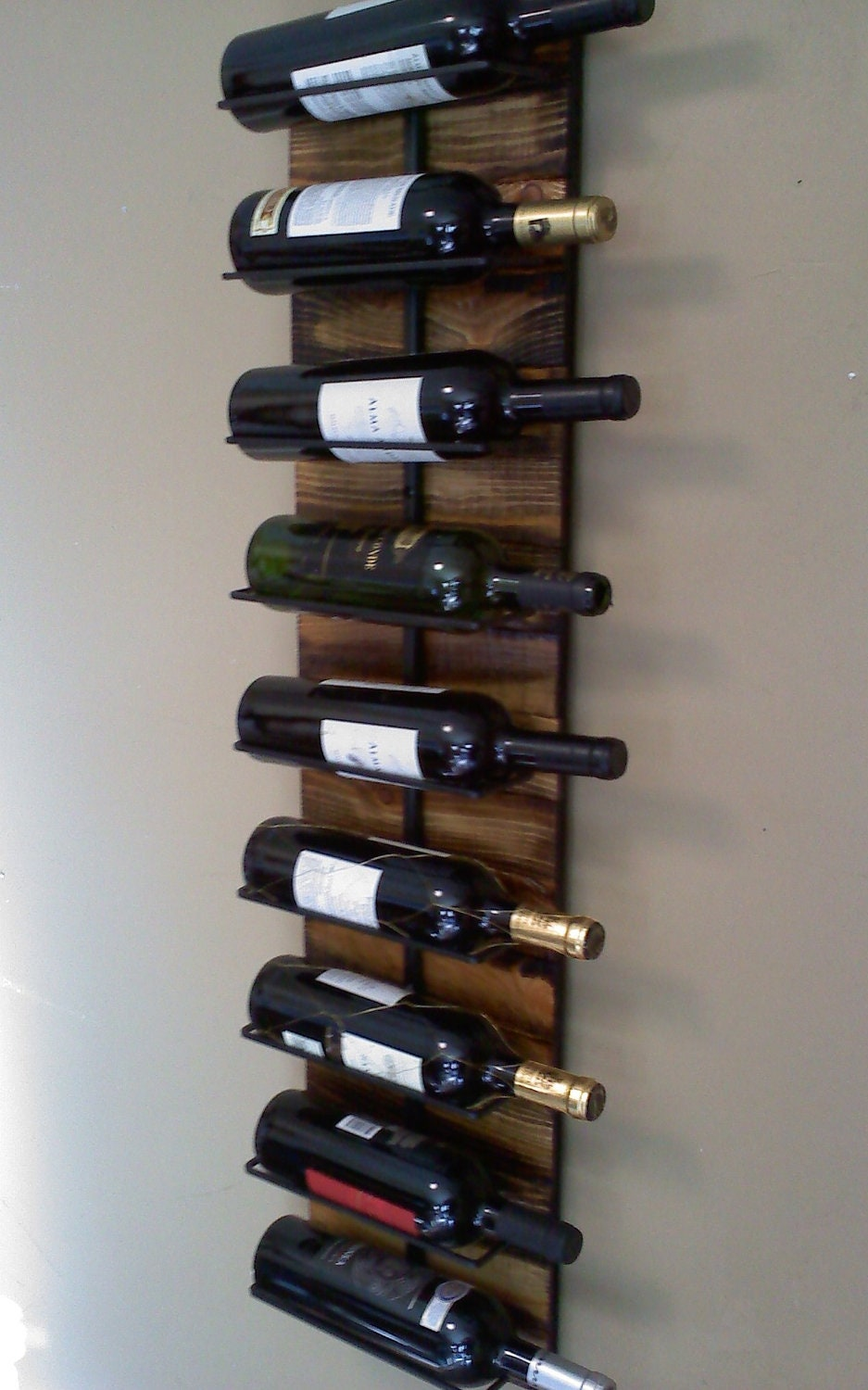 Wall hanging wine rack for 9 Hanging wooden wine rack