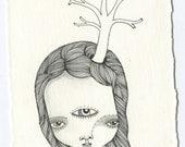 small tree girl - original drawing