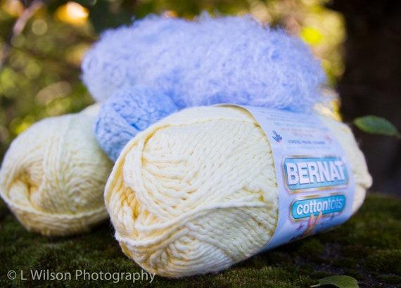 Yarn Lot Bernat Cottontots Yellow And Baby Blue By