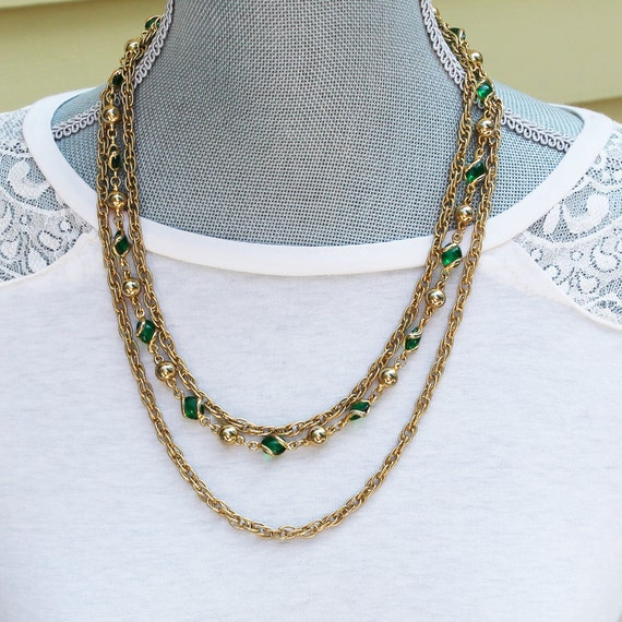 Three Strand Golden Chain and Green Glass Beaded Necklace