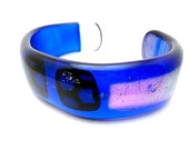 Dichroic Glass Bracelet/Fused Glass Bracelet/Cuff Glass Bracelet/Blue and Pink