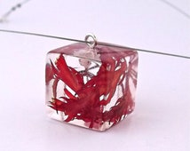 Red Resin Necklace with Real Flowers.  Handmade Resin Jewelry.  Pressed Flower Necklace - Lace Leaf Japanese Maple Leaves