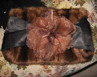 Vintage Faux Fur Purse Handbag Evening Clutch Black Satan Bow Large Corsage Flower Vestiesteam CIJ