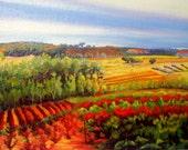 Oil painting, Vineyard in La Rioja, Spain.