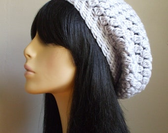 Cute Women Winter Hat Crochet Beret Slouchy Hat Winter Women Hat Cream Tweed Cute Boho Slouchy Hat