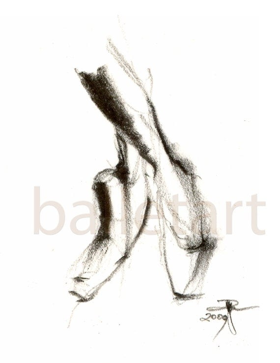 Dancing Shoes Drawing Pointe Shoes Drawing Black