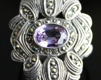 Brilliant Art Deco Amethyst Marcasite Adorned Sterling Silver Swirl Vintage Art Deco Ring