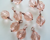 10 - Handmade 6mm Czech Bead Dangles-Charms Pink Rose