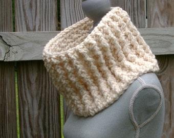 The Chunky Cowl, Circle Scarf in Fisherman Cream Crochet