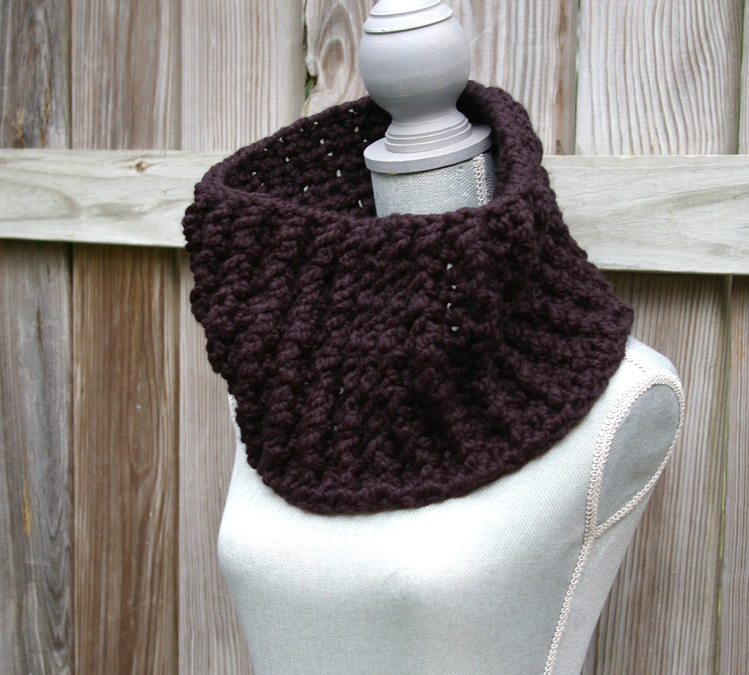 The Chunky Ribbed Cowl SCarf in Black Crochet by CandacesCloset