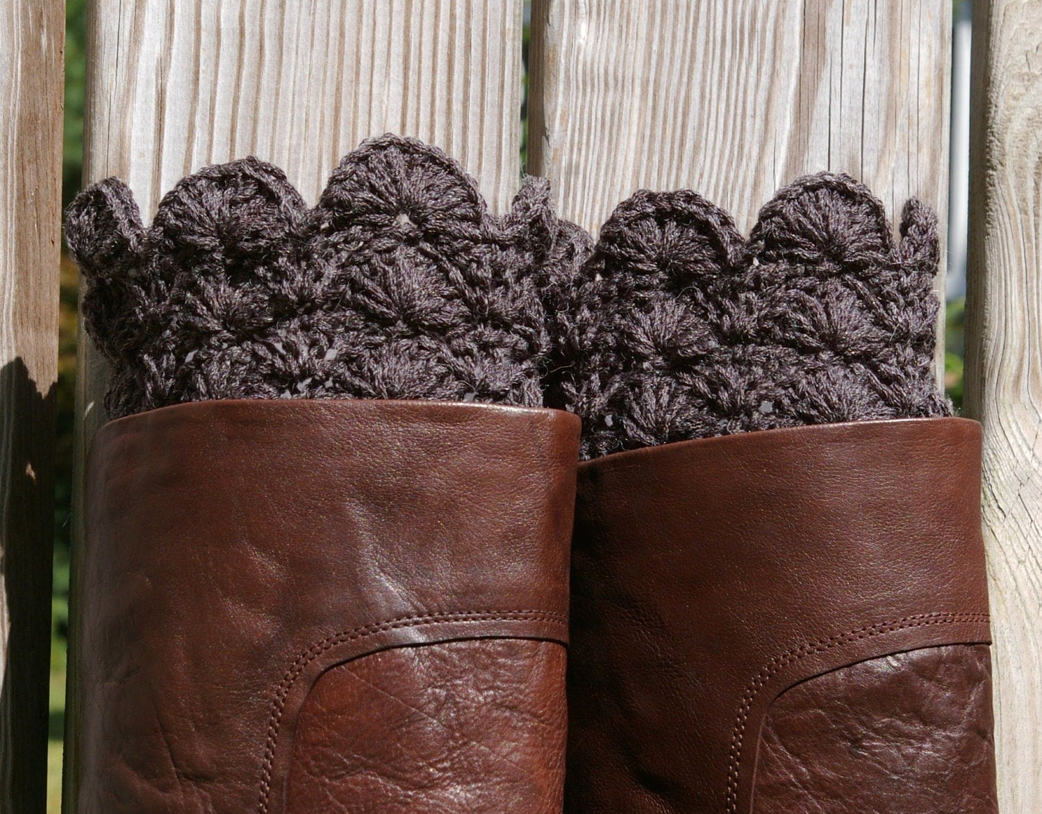 Crochet Boot Cuffs in Charcoal Grey Gray Boot Toppers Boot
