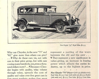 CHRYSLER Automobile, Vintage Advertisement, December 1928 National Geographic Magazine Original Page