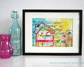 """Mixed Media 8,5 x 11 Art Print of original canvas """"Give your dreams a loving home"""", lovely home decor"""