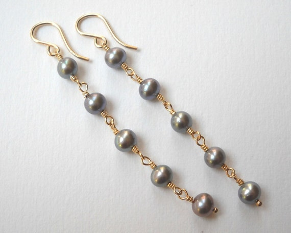 Gray Pearl Earrings - Gold Filled Long Dangle Earrings Beaded Earrings Beadwork Earrings