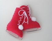 Ice Skates Ornament Hot Pink Eco-Friendly Recycled Felt by ArtfulEnds