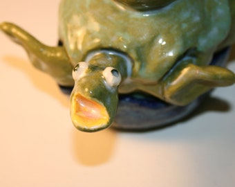 Todd the Turtle Lidded Box - Green on Blue Porcelain Bowl - Monster Box