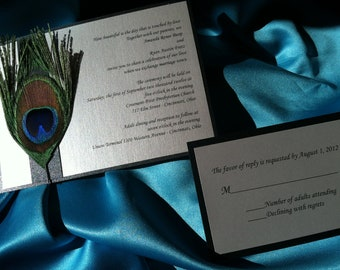 Peacock Feathers Design 5x7 Wedding Invitation with RSVP