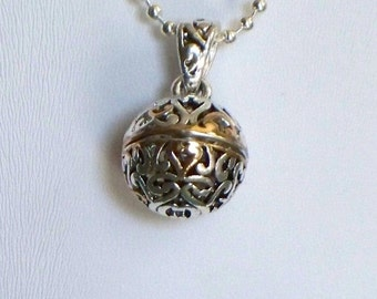 Fragrance Necklace with Silver and Gold Charm on Stainless Steel, Silver Chain