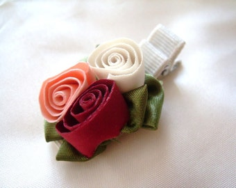 READY TO SHIP, Rose Hair Clip, triple rose, Flower Hair Clip for Babies Children, Baby Hair accessory, Red Pink White, Christmas Hair clip