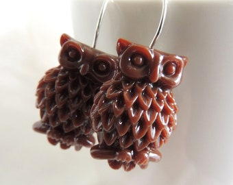 READY to SHIP, Owl Earrings, Whimsical Owl Earrings, Brown Owl, Silver earring hooks, Chocolate Brown, Fall Autumn Earrings, Holiday gift
