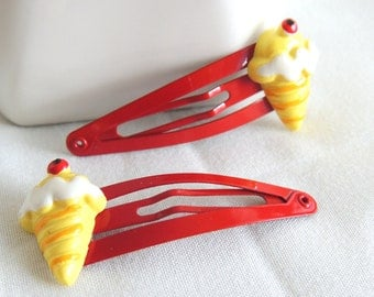 READY TO SHIP, Ice Cream Cone Hair Clips, Snap clips, children baby hair accessories, Red, Kawaii, Spring Summer hair clips, Girls Hair clip