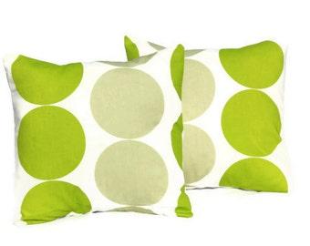Throw pillows kiwi green light green spot disc design cushion shams UK designer fabric covers Two 16 x 16 inch