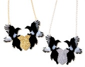 "Black and White Magpies with Silver or Gold Glittery Heart - ""One For Sorrow, Two For Joy"" necklace - large statement jewellery"