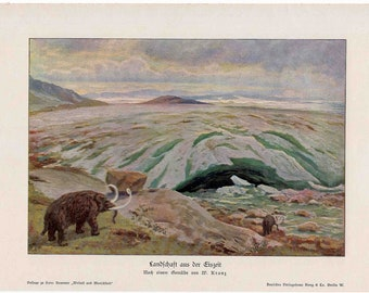 1900 ICE AGE original antique prehistoric culture print with wooly mammoth lithograph