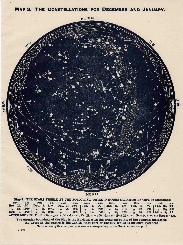 Star Constellations Map Northern Hemisphere 1963 constellations star ...