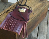 Handmade burgundy leather native medicine. pouch. amulet. necklace AKASHA Saddle Belt Wrist Pouch fringe bag Deer Antler button. Organic