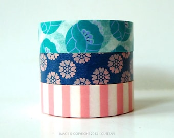 Tulip Washi Tape Set Teal, Blue, Pink Stripe - Japanese Set of 3 PrettyTape