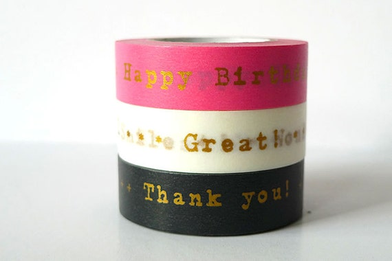 PINK GOLD Happy Birthday Washi Tape Thank You Japanese Masking Tapes For You, Messages - Set of 3 PrettyTape