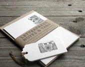 Vintage Camera -  Letterpress Note Cards and tags