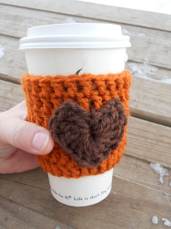 I love my coffee / latte / crochet coffee cup cozy / Pumpkin