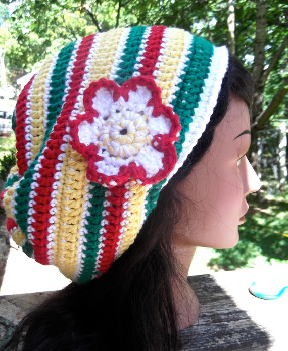 SALE Cotton Reggae Rasta Flower Red yellow white green bob marley slouch hat dreadlock hippie tam