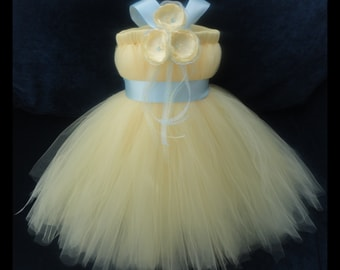 Yellow and Light Blue Flower Girl Dress