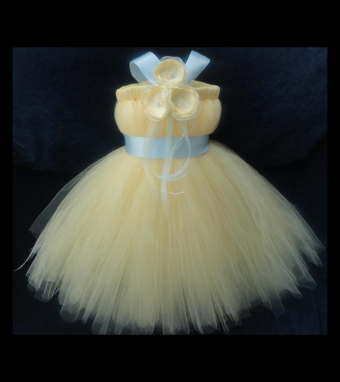Yellow and Light Blue Flower Girl Dress Little by StrawberrieRose